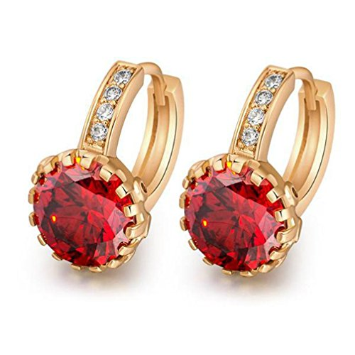 18K Yellow Gold Plated Jewelry 9mm Flower Round Topaz Zircon Drop Hoop Women Party Earrings Wedding - Green/Red/White (Red)