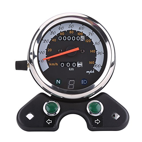 Qiilu Universal Motorcycle Dual Speedometer Odometer Tachometer Gauge 95mm Mounting Hole with Cable, Speed Pointer, Mileage Gear Headlight Display, Turn Signal Indicators