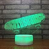 SFSF Nuit Enfants Touch LED de Commutation 3D Skateboard Night Light Mode USB décoration Chambre bébé Acrylique Lampe de Bureau à Domicile Cadeaux d'éclairage