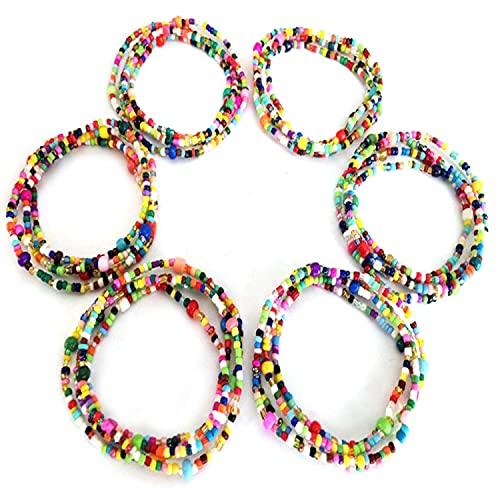 Gebuter 6 Piece Waist Beads Body Jewelry Colorful Belly Beads Bikini Jewelry Belly Chains for Women Fashion Waist Chain