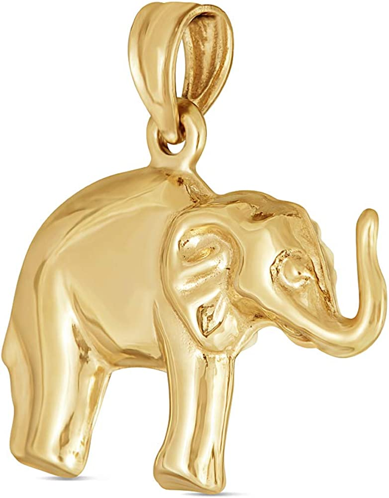 KALO79 14K Yellow Gold 3D Elephant Pendant (1.3 Grams)