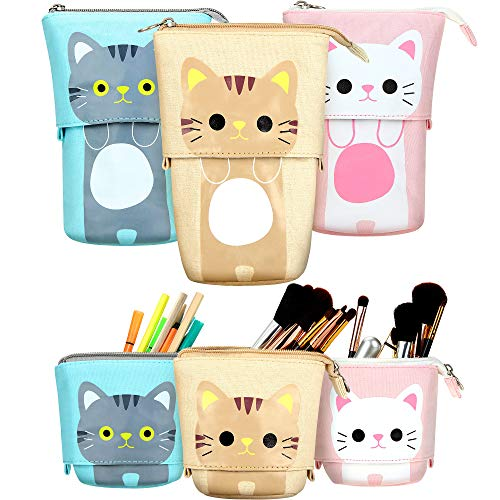 3 Pieces Transformer Stand Store Pencil Holder Canvas PU Cartoon Cute Cat Telescopic Pencil Organizer Cosmetics Pouch Makeup Bag Stationery Pen Case Box with Zipper (Gray, Coffee and White)
