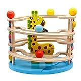 Kugelbahn Holz Murmelbahn Holzspielzeug-Rollbahn aus Holz mit 3 Kugels Spielzeug Giraffe Motorikspielzeug für Mädchen Junge Kinder ab 3 4 5 6 -