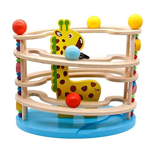 Kugelbahn Holz Murmelbahn Holzspielzeug-Rollbahn aus Holz mit 3 Kugels Spielzeug Giraffe Motorikspielzeug für Mädchen Junge Kinder ab 3 4 5 6
