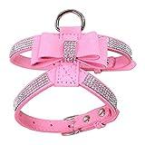 HOOTMALL Dog Harness-Bling Rhinestone Dog Vest Adjustable Bowtie Dog Harness for Small Medium Dogs