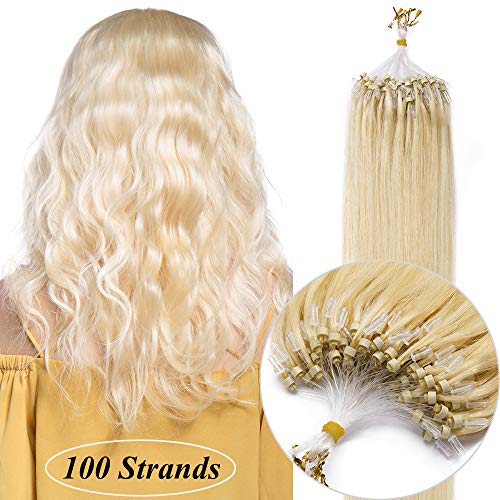 Microring Extensions Echthaar Haarverlängerungen Micro Loop Bondings Human Hair Hellblond#613 16