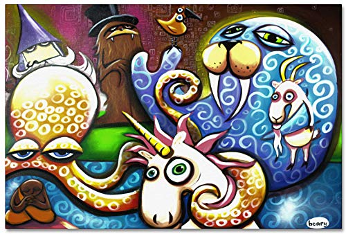 Unicorn and Friends Giclee Archival Canvas Print Wall Art Décor for Home & Office from Original Painting by Seattle Mural Artist Henry 24' x 36'