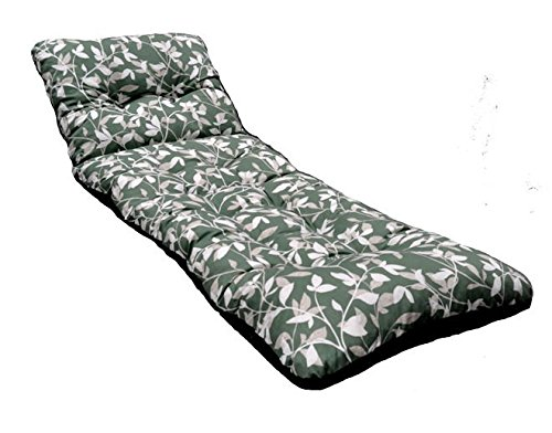 New Deluxe Thick Replacement Garden Patio Sun Bed Lounger Cushion Glen Green Leaf Design