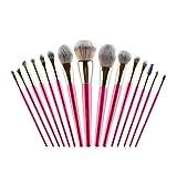 GCX- Melocotón Mango Largo 15 Juegos de Maquillaje refrescar la Mano Cepillo de Principiante Conjunto brocha for Polvos Sueltos Cepillo de Sombra de Ojos Rubor Hermoso