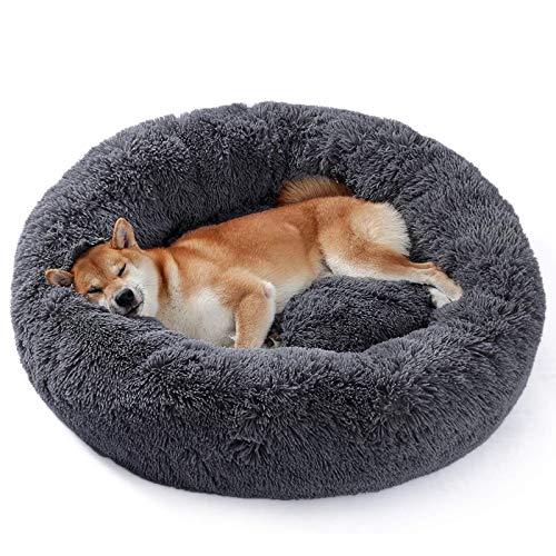 Round Deluxe Haustierbett für Hunde und Katzen, mit Reißverschluss, leicht zu entfernen und zu waschen, Kissen für Katzen/Hunde, 60 cm-120 cm / 5 Größen, Dunkelgrau, 120cm