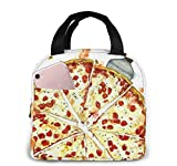 Yuanmeiju Boys Girls Insulated Neoprene Lunch Bag Pizza Tote Handbag Lunchbox Food Container Cooler Warm Pouch for School Work Office