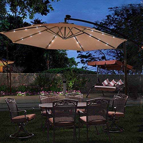Tangkula 10FT Outdoor Patio Umbrella Solar LED Lighted Sun Shade Market Umbrella with Hanging Cover and Cross Base (Light Brown)