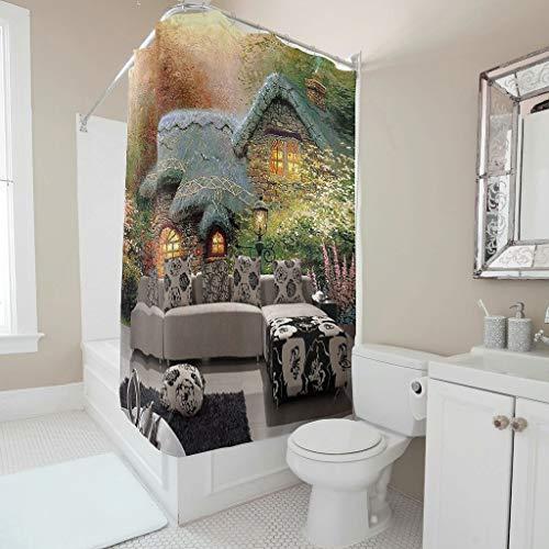 O5KFD & 8 douchegordijn grappig huisje, sofa patroon print milieuvriendelijk - sofa badkuipgordijn modern voor badkamer