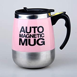 BellyLady Stainless Steel Magnetized Anti-scald Mixing Cup wirh Lid for Coffee Milk 400ML pink (magnetized) 401-500ml