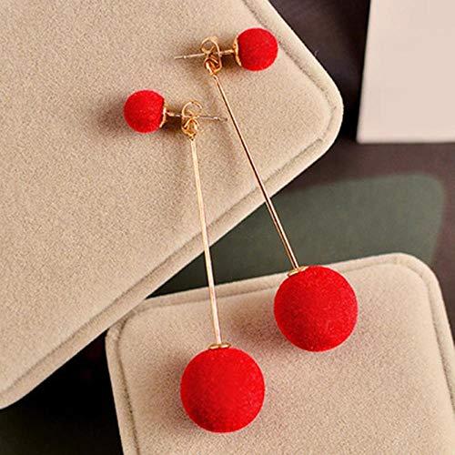 XAOQW Pendiente de Pompom para Las Mujeres 1 par de Pendientes de Pelo Artificial Bola Colgando pompón Blanco Hermosa Pendiente Chica Regalos Bonitos Accesorios-Rojo
