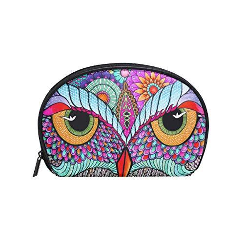 Sac cosmétique avec fermeture éclair fleur plumes chouettes embrayage sac de rangement de voyage maquillage pochette sac organisateur cas pour les femmes