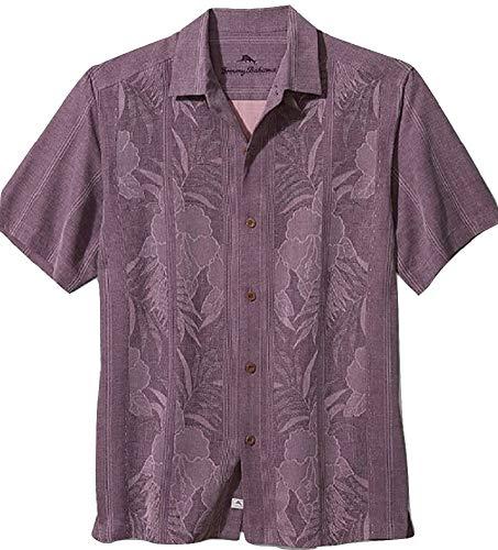 Tommy Bahama Tahitian Border Silk Camp Shirt (Color: Purple Haze, Size XXL)