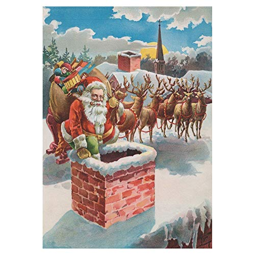 HujuTM Christmas Santa Claus Reindeer on the Roof Top Polyester Garden Flag Outdoor Banner 28 x 40 inch, Vintage Funny Decorative Large House Flags for Wedding Party Yard Home Decor