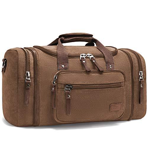 Mupack canvas reistas handbagage voor heren - grote handtas schoudertas sporttas gymtas reistas met 2 zijzakken voor uitbreidingen, koffie