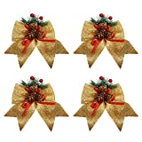 BELLE VOUS Fiocchi Albero di Natale Oro (4pz) - (15x17 cm) Fiocco Oro Albero di Natale con Bacche Rosse e Pigna per Decorazioni Natalizie Oro Albero, Regali e Porta - Addobbi Oro Albero Natale