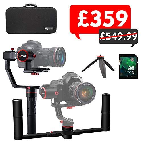 Feiyu A2000 Gimbal stabilizzatore a 3 assi per fotocamere DSLR/Mirrorless, Sony/Gopro Hero/Canon / altre fotocamere, doppio manico rimovibile, custodia inclusa e scheda SD da 32 GB