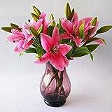 StarLifey 5 Piezas de Flores Falsas Toque Real Látex de Seda Tiger Lily Bouquet Flores Centros de...