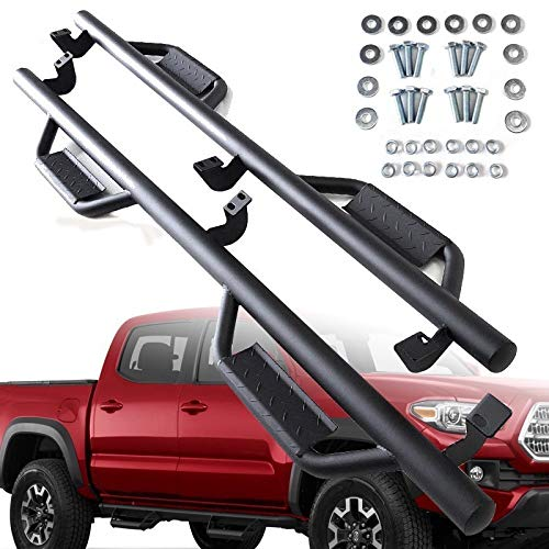 """UFRAME Black Matte Finish 3"""" Round tubing Drop Step Side Step Nerf Bar Fits 2005-2019 Toyota Tacoma Crew (Double) Cab 4-Full Door Model Only"""