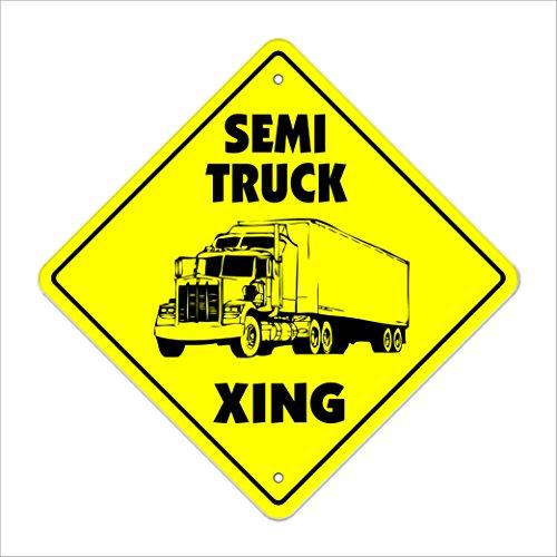 "Semi Truck Crossing Sign Zone Xing | Indoor/Outdoor | 12"" Tall Plastic Sign driver teamster trucker 18 wheeler"
