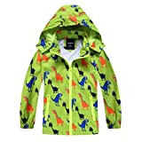 IjnUhb Waterproof Hooded Jacket for Boys Girls,Kids Raincoats Outdoor Windbreaker Dinosaur Rain Jacket (Green,2T)