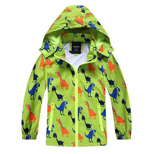 IjnUhb Waterproof Hooded Jacket for Boys Girls,Kids Raincoats Outdoor Windbreaker Dinosaur Rain Jacket (Green,3T)