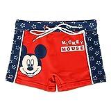 Costume da Bagno Boxer Mare Bambino Topolino Mickey Mouse Disney | Rosso/Blu | 2-3-4-5-6 Anni (4 Anni)
