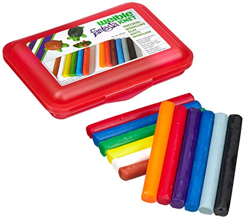 Weiblespiele 08340-1 - Schul-Knetbox mit 12 Rollen Knetmasse, rot