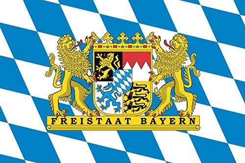 Flaggenfritze® Fahne Flagge Bayern Freistaat Löwenwappen 60 x 90 cm Premiumqualität