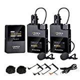 Wireless Lavalier Microphone,Comica BoomX-D2 2.4G Compact Wireless Microphone System with 2 Transmitter and 1 Receiver,Lav Mic for Smartphone Camera Podcast Interview YouTube Facebook Live-Stream