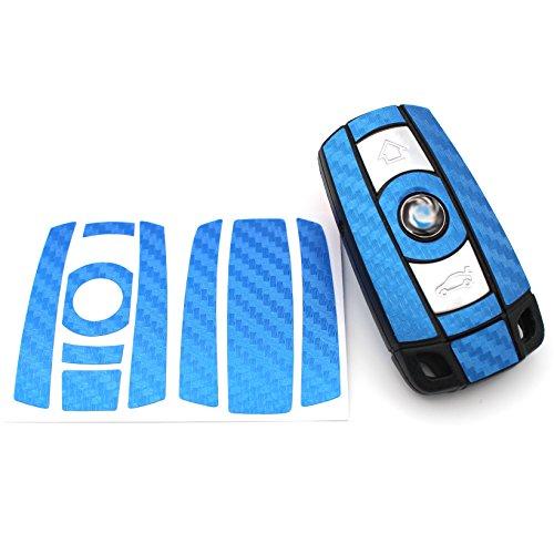Finest-Folia Schlüssel Folie BB für 3 Tasten Auto Schlüssel (nur Keyless Go) Folien Cover (Blau Carbon)