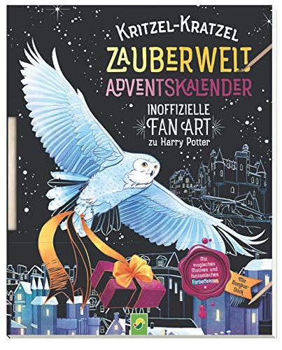Kritzel-Kratzel Zauberwelt Adventskalender: Inofizielle Fan-Art zu Harry Potter. Mit Bambus-Stick