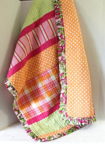 Baby Crib Quilt Plaids and Dots Orange Hot Pink Girl Nursery Blanket Ready To Ship