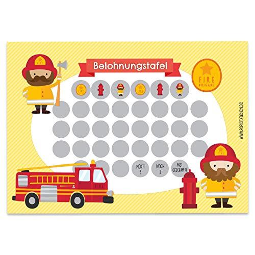Papierdrachen Belohnungstafel Set für Kinder als Abreißblock 10 Blatt - Motivierendes Konzept als Erziehungshilfe - mit tollen Stickern für Jungs und Mädchen - Motiv Feuerwehrmann Set 6