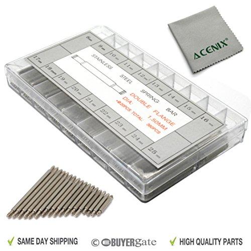 ACENIX 360 pezzi 8-25 mm barrette a molla orologio perni di collegamento con panno di pulizia