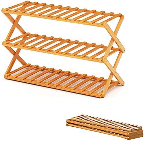 gongxi Estante De Zapatos De Bambú, Estantes De Madera De 3 Niveles Plegables para Zapatos, Organizador De Almacenamiento De Soporte De Exhibición De Plantas, 50 × 39 × 25 CM