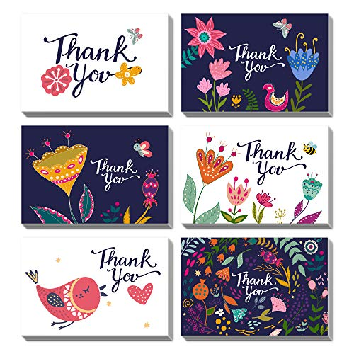 PACKQUEEN 48 Thank You Cards with Envelopes, Thank You Note Cards, Greeting Cards Assortment (Floral & Bird)