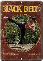 Black Belt SelfDefense Judo 注意看板メタル安全標識壁パネル注意マー表示パネル金属板のブリキ看板情報サイン