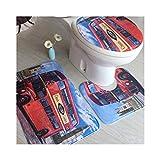 CHONGYA Alfombras de baño coloridas 3 piezas/juego de tapetes para asiento de inodoro, alfombrilla antideslizante para inodoro, efecto 3D, alfombras para el hogar