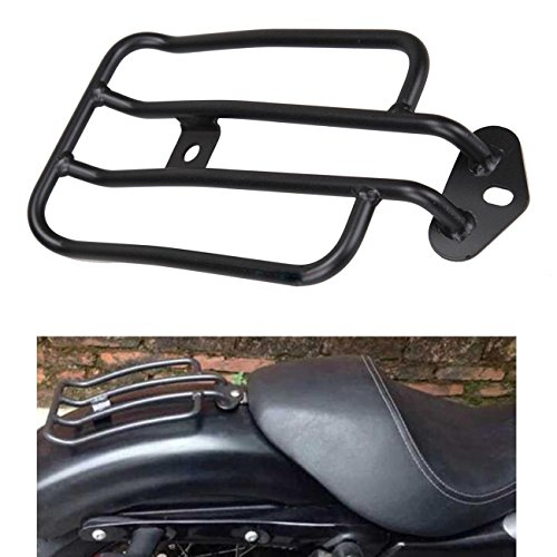Ambienceo, portapacchi di colore nero, per sedile singolo, compatibile con Harley Sportster XL 883 1200 77-0073 77-0073-B