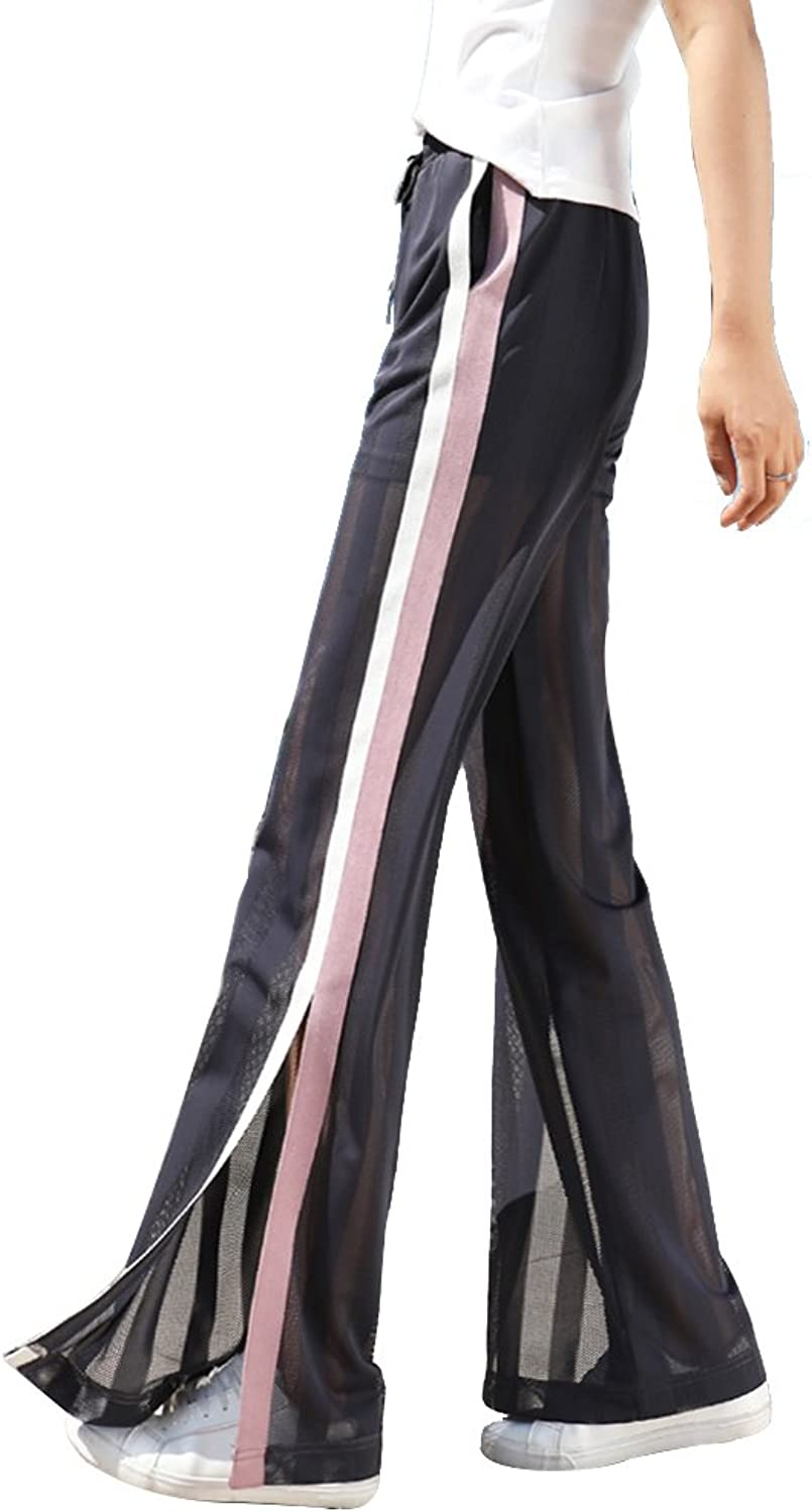 Casual Pants Wide Leg Sports air Conditioning Summer Thin Section wear Female Drape Loose mesh Perspective Split Pants (color   Purple, Size   31)