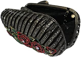Gunmetal Black Clutch Purse With Red Floral Design And Swarovski Elements Crystals
