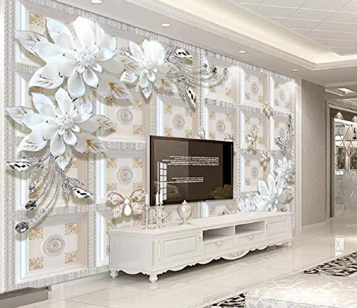 Fototapete 3D Effekt Tapete Moderne Prägung Schmuck Blume Einfachen Vliestapete 3D Wallpaper Moderne Wanddeko Wandbilder