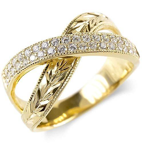 [アトラス]Atrus リング メンズ 10金 イエローゴールドk10 キュービックジルコニア 月桂樹 指輪 ミル打ち 幅広 14号