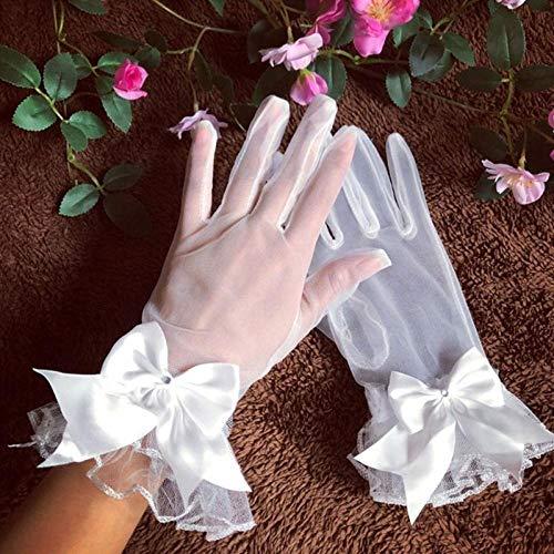 GBSTA Vingerloze Handschoenen Bruid Handschoenen Gaas Bow-knoop met Vingers Korte Witte Handschoen Bruidsjurk Accessoires foto Props