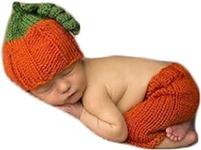 Fashion Newborn Baby Photography Shoot Boy Girl Photo Shoot Outfits Crochet Knit Costume Halloween Clothes Pumpkin Hat Pants